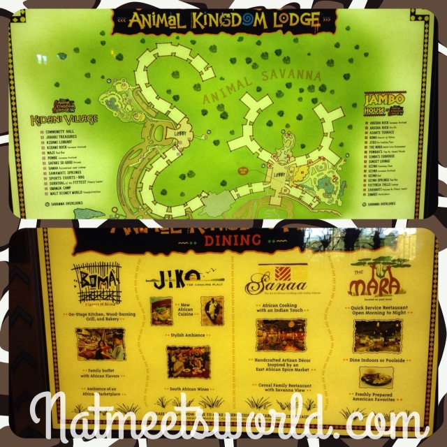 Top Picture: Map of the entire AKL Property.  Bottom picture: List of each restaurant at the Jambo house and Kidani Village.