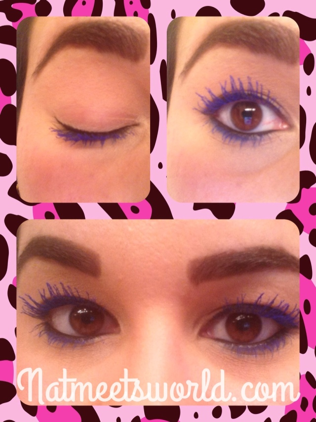 Here I coated my lashes on one side for a daytime look.  Please ignore the funky eyebrows, I'm growing them out.