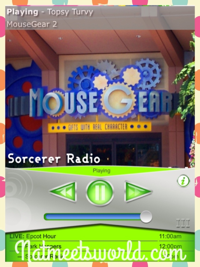 Music from the Mouse Gear store plays during the Epcot music hour.