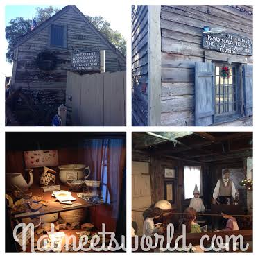 Top Left and Right: oldest schoolhouse exterior, Bottom Left: authentic pieces from the students that attended the school, Bottom Right: audio-animatronics provide a short show of how life was like during these times.