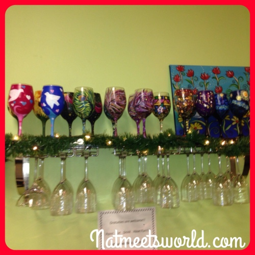 Samples of painted wine glasses.