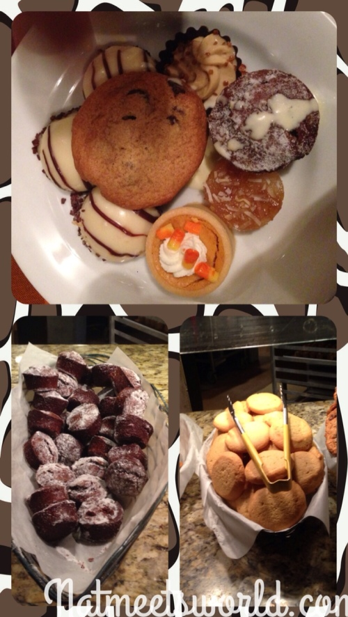 Top picture: my plate of goodies.  Bottom picture: assorted brownies and cookies.