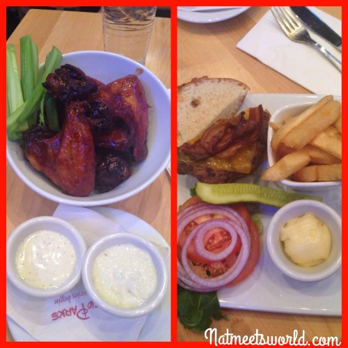 Left: BBQ wings with creamy ranch and blue cheese; Right: original cheeseburger with steak fries.