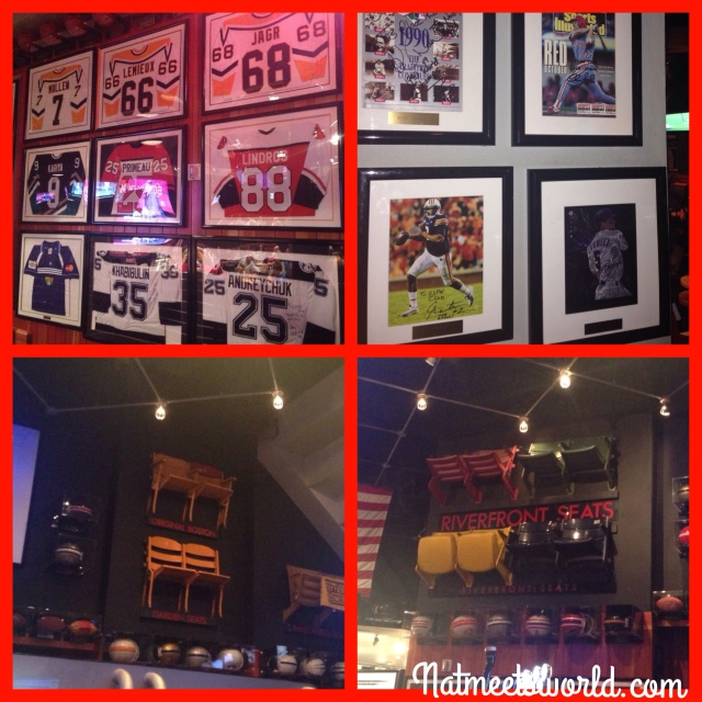 The top left and right pictures include different jerseys and photographs of well known players.  The bottom left and right picture include the actual chairs from Fenway Park.  Too cool!