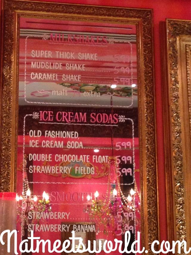 sloans milkshake menu