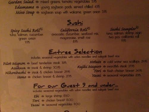 Teppan Edo Sushi menu