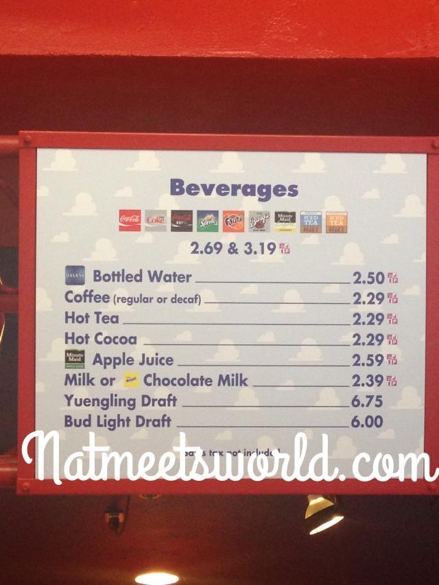 pizza planet beverage menu