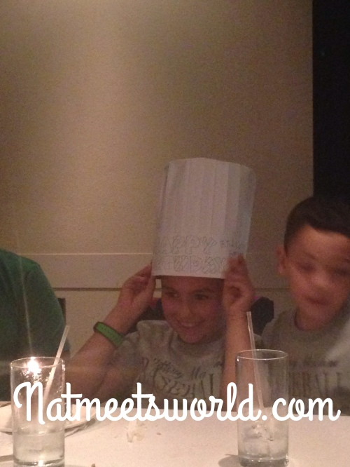 The birthday boy received his own birthday chef hat!