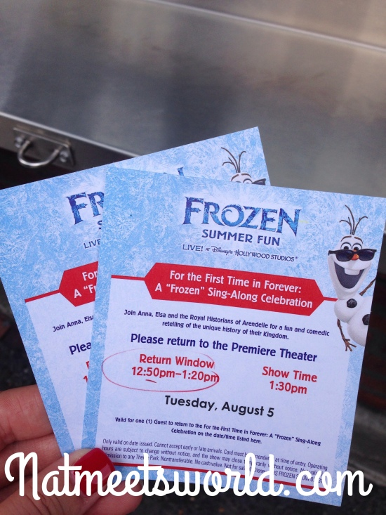 Tickets to the Frozen Sing-Along show.
