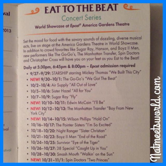 Eat to the Beat concert series schedule