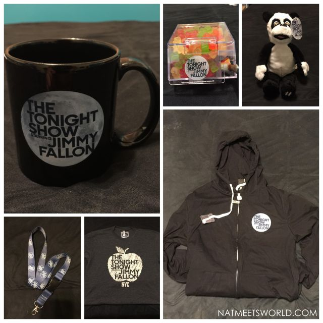 The items pictured here are the Tonight Show mug, lanyard, t-shirt, sweatshirt, Hashtag plush, and candy dispenser.